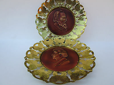 Pair Of Vintage Composer Wall Art Plaque Brass / Copper Chopin Brahms England