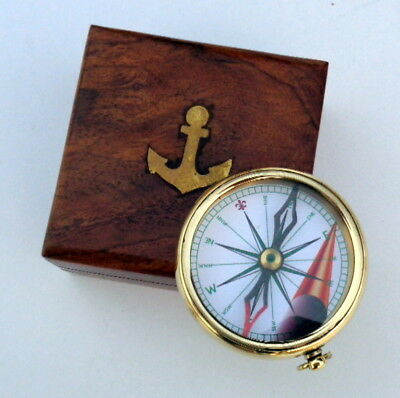 Maritime Old Vintage The Beatles Round Brass Compass From England 1965 Antiques