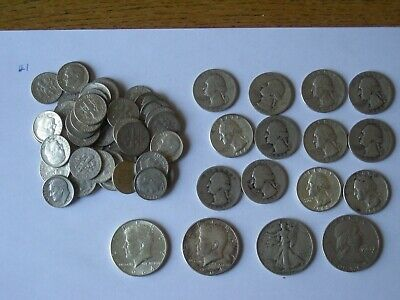 $10 Face Value 90% Silver U.S. Coin Lot - Half Dollars,Quarters and Dimes  Lot 1