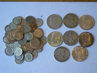 $10 Face Value 90% Silver U.S. Coin Lot - Half Dollars,Quarters and Dimes  Lot 5