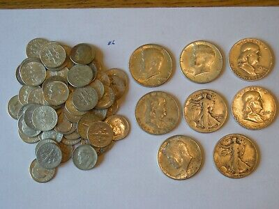 $10 Face Value 90% Silver U.S. Coin Lot - Half Dollars,Quarters and Dimes  Lot 6