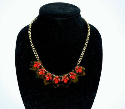 "J Crew Statement Necklace Gold tone18"" Faux Tortoise Shell Orange bead Vintage"
