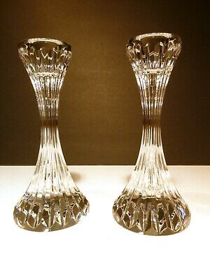 "*VINTAGE* Baccarat Crystal MASSENA (1979-) Set 2 Candle Sticks 6"" Made in FRANCE"