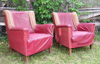 Pair Art Deco Armchairs. Club Chairs Wing Back Library 1920s Vintage Antique