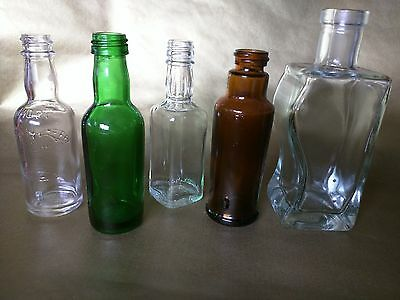 5 VINTAGE Glass MINI BOTTLES Collectibles Bitters Whiskey Liquor Vodka Curved