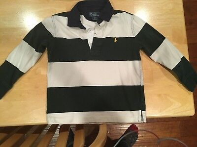 Ralph Lauren Toddler Boys Rugby Stripe 4/4T long sleeve -Green with Navy Collar