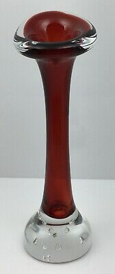 "Vintage Aseda ""Jack In The Pulpit"" Red Art Glass Bud Vase - Small, 6"" Tall."