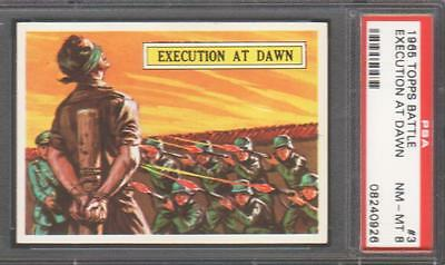 1965  Topps Battle Cards - #3 Execution At Dawn - Psa Nm-Mt 8