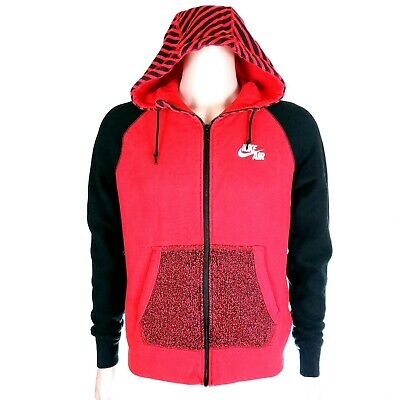 edfa8e3352c0 Nike Air Men Sweatshirt Hoodie Pockets 100% Cotton Full Zip Black Red Size M