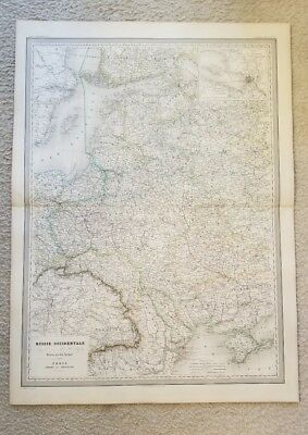 """19th Century C1863 European Russia Map 33""""X24"""" Thick Paper Hand Colored"""