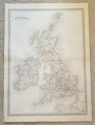 """19th Century C1863 Great Britain Map 33""""X24"""" Thick Paper Hand Colored"""