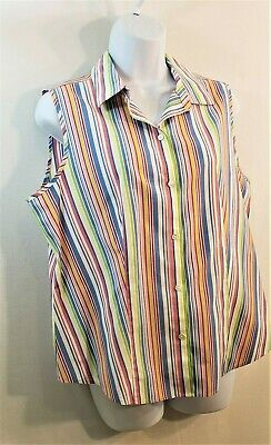 77097adb40fabb TALBOTS Wrinkle Resistant Multi Color Striped Sleeveless Blouse Womens Size  12
