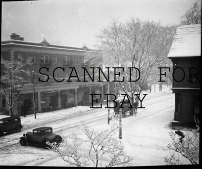 1930s Rochester New York in Snow ORIGINAL PHOTO NEGATIVE