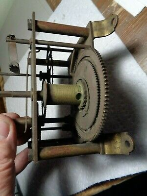 Antique-Gilbert-Regulator #5-Weight Clock Movement-Ca.1900-To Restore-#T244
