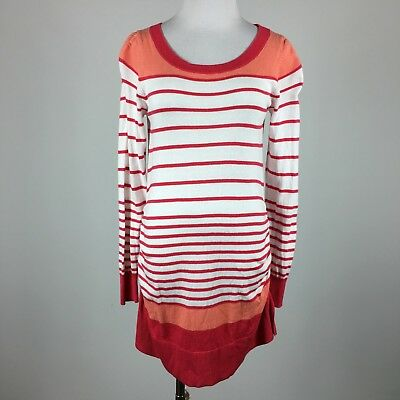 Liz Lange Maternity Knit Top M Scoop Neck Red White Peach Stripe Side Ruching