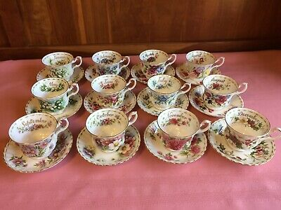 Royal Albert Flower of the Month Series, all 12 cups and saucers.