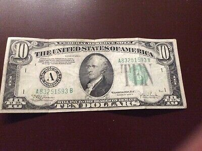 Series 1934 c $10 DOLLAR BILL FEDERAL RESERVE GREEN SEAL NOTE OLD PAPER MONEY