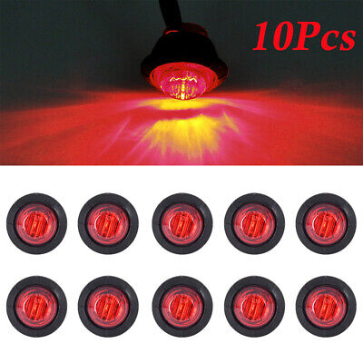 10x 12/24V RED SMALL ROUND LED BUTTON REAR MARKER LAMP/LIGHT UNIVERSAL TRUCK CAR