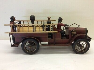 "Rare VTG Antique Wood & Metal Hand Carved Fire Truck 29"" Length Collector Toy"
