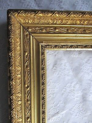 "Antique Ca. 1900 Large Ornate Gold Gilt Wooden Picture Frame 34 1/2"" x 30"""