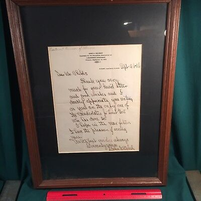 1916 Illinois Lt. Governor John G. Oglesby Handwritten Letter, Decatur, Illinois