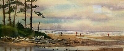 ANN RUTTER Original Watercolor Northwest Puget Sound Ocean Beachcomers