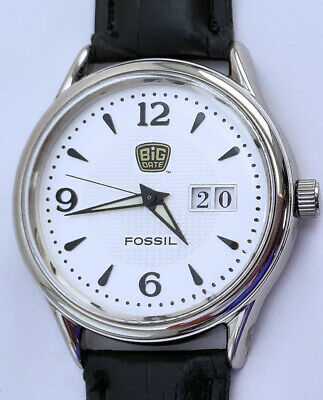 Men's Limited Edition Fossil Big Date Quartz Watch 35mm Only 500 Made 8½ Strap