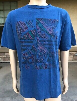 71a1b3b410a23 VINTAGE 90S ADIDAS Trefoil Big Logo T Shirt USA Made Size XL Single Stitch