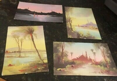 Antique Hand Painted Egyptian Postcards Of Egypt Beautiful set of 4 for framing