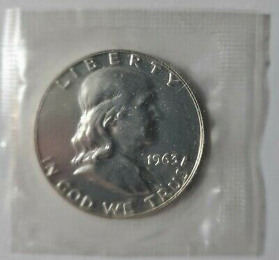 1963 Franklin Silver Half Dollar Gem Proof Condition In Mint Cello US Coin