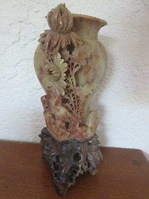 Antique  Chinese Asian Oriental Stone Carved Flower Bird Statue Figure