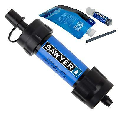 Sawyer Blue Portable Mini Water Filter Filtration System w/16 Oz. Pouch