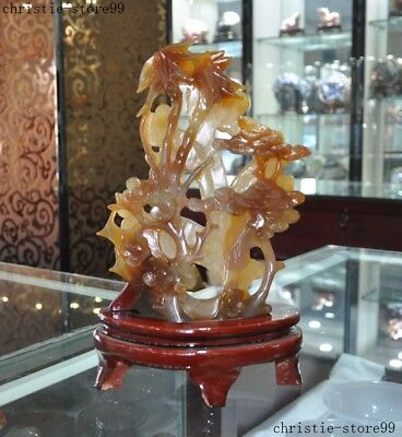 Chinese Feng Shui Natural Red Agate carved Plum blossom Bamboo pine tree statue