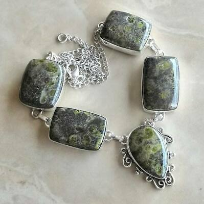 "Handmade Phyolite Rainforest Jasper 925 Sterling Silver Necklace 17"" #N01936"
