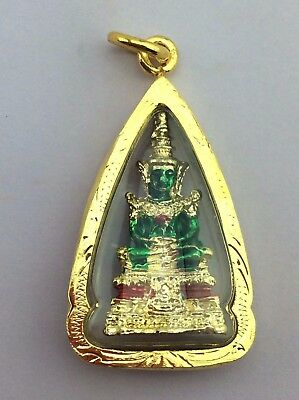Phra Puat Chinatown Brass Mix Color Top Old Wat Thai Amulet Buddha 641 .
