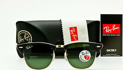 4a66b48f78 NEW RAY-BAN CLUBMASTER RB3016 901 58 Black Frame Crystal Green Polarized  51mm