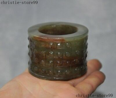 """2""""Collect antique Chinese natural Hetian jade Carved Sacrifice Yucong Jade Cong"""