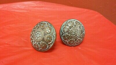 Pair of  Quality Solid Brass Antique Victorian Door Knobs Eastlake lot 2