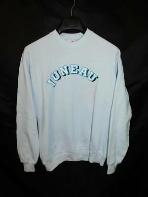 Vintage 80s XL Juneau Alaska Sweatshirt Light Blue Jerzees Crew Neck USA Made AK