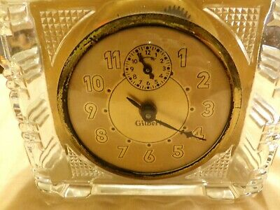 vintage Gilbert glass with gold tone face clock