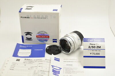 Mint Carl Zeiss Planar T* 50mm F2 ZM Silver for Leica M Mount w/Box From Japan