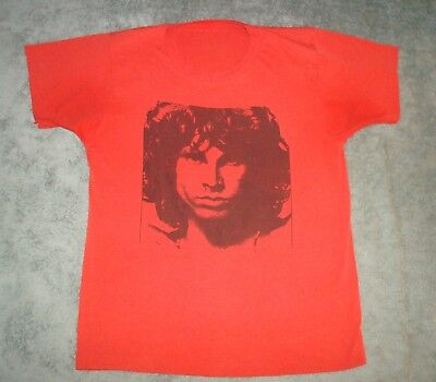 VTG 70s 80s JIM MORRISON T SHIRT MENS THE DOORS RED NICE SINGLE STITCH TEE ROCK