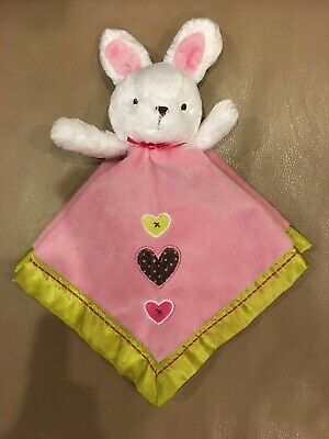"""Carter's Just One You White Bunny Security Blanket Pink Yellow Hearts 14.5"""""""