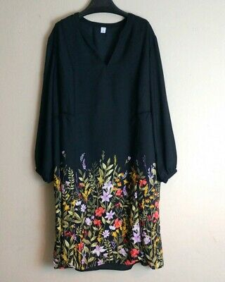 73fc799719e5 OLD NAVY BLACK floral Georgette swing dress Plus Size 4X A1#241 ...