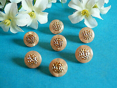 """1155/Chequerboard Small Buttons """" Mosaic """" Pink & Gold Lot 7 Buttons Ép.1970"""