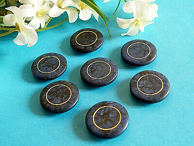 """1153/Chequerboard Buttons """" Marble """" Blue & Gold Lot 7 Buttons Ép. 1970"""