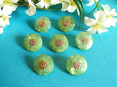 """1158/Chequerboard Buttons """" Mosaic """" Almond Green and Gold Lot 7 Ép. 1970"""