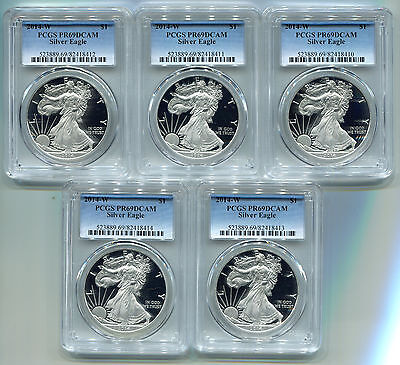 2014 W American Silver Eagle Proof PCGS PR 69 DCAM (5 COIN LOT) FREE SHIPPING!