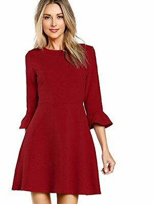 2c8d1ee1d61 Floerns Women's Solid Ruffle 3/4 Sleeve Round Neck Flare Short Dress Size XS  -