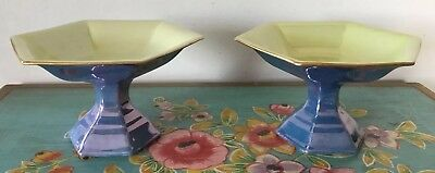 Beautiful Pair Of Vintage B & Co. Limoges France Footed China Hexagonal Bowls